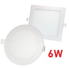 6W RECESSED LED PANELS ROUND AND SQUARE